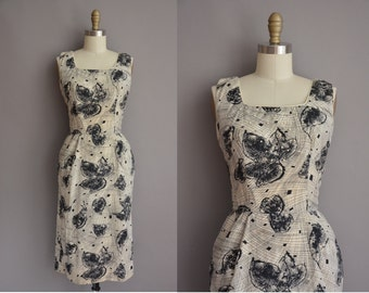 50s black leaf cotton print vintage wiggle dress / vintage 1950s dress