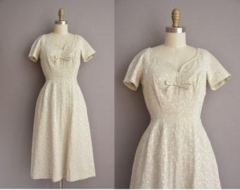50s soft beige floral brocade vintage dress / vintage 1950s dress