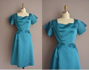 50s blue satin vintage party dress / vintage 1950s dress