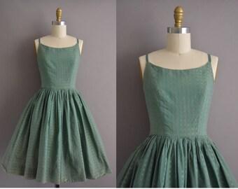 50s green cotton print vintage sun dress / vintage 1950s dress
