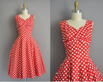 Suzy Perette 50s red polka dot cotton vintage dress / vintage 1950s dress