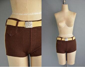 20s Gantner Wikis brown wool vintage swim shorts / vintage 1920s swimsuit shorts