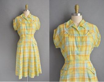 50s yellow and blue plaid cotton vintage dress / vintage 1950s dress