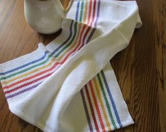 Handwoven Cotton Kitchen Towel White with Rainbow Stripes