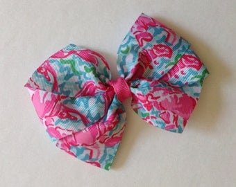 Pink Lobsters Print Bow by Cheryl's Bowtique, lilly inspired, ocean, waves, beach