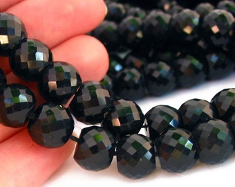 """7"""" / 15"""" 8mm 10mm MICRO Faceted BLACK Extra Sparkle crystal glass rondelle Beads - PICK Size"""
