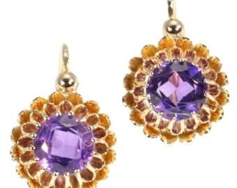 Antique Amethyst Earrings Victorian Drop Earrings 18K Rose Gold Bright Purple Amethysts Crown Setting French Jewellery