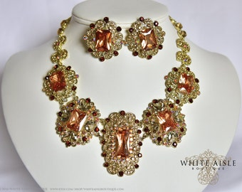 Brown Bridal Jewelry Set, Vintage Style Necklace, Statement Necklace, Wedding Jewelry Set, Crystal Necklace, Rhinestone Necklace