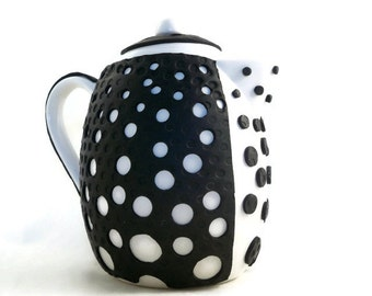 Bubble teapot black and white modern design polymer clay