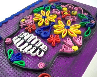Sugar skull sketch journal with polymer clay quilling cover