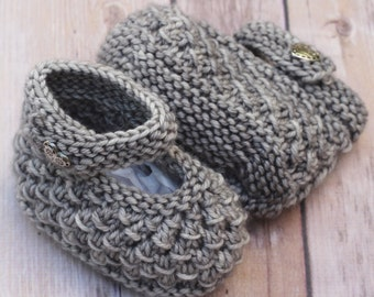 Ready to Ship Hand Knit Silver Gray Merino Wool Newborn Mary Jane Booties, 0-6 Months