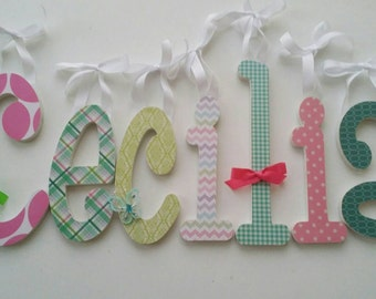 Wooden Letters, Girls Nursery, CECILIA'S THEME, Pink, Green, Teal, Butterflies, Girly Baby Girl, Personalized Name Letter