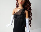 """Formal black satin assymetrical gown and white gloves for 16"""" fashion dolls"""