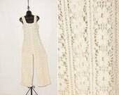 vintage 60s 70s crocheted lace jumpsuit