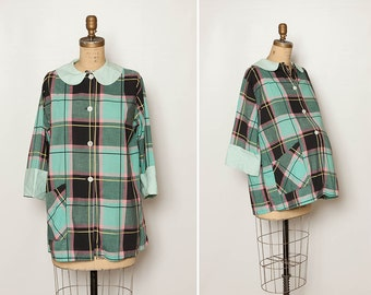 vintage 1950s 1960s maternity smock plaid blouse