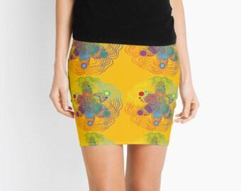 Mini Skirt - Rainbow on Yellow