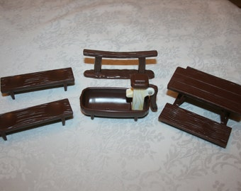 Vintage 1970's Hasbro Weeble Western Set Hitching Post Water Trough with Pump Handle Table Benches