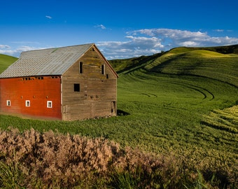 Red Sided Barn.  Rural life wall art from still photography.  Fine art print for home decor or wall art.