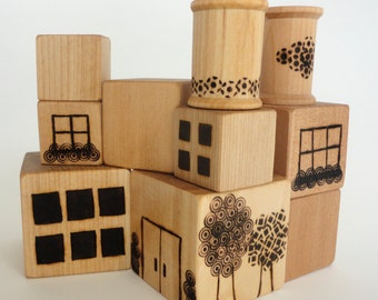 Wood blocks, baby safe blocks, toddler preschool, organic wood blocks