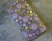 4 Pocket Kraft Folder Midori Travelers Notebook Fauxdori Purple Flower and Gold Foil