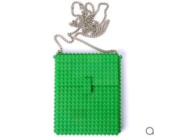 Green hip clutch on a chain made entirely with LEGO® bricks FREE SHIPPING crossbody purse handbag lego gift