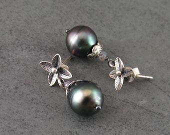 Tahitian pearl earrings with labradorite on sterling silver posts-OOAK