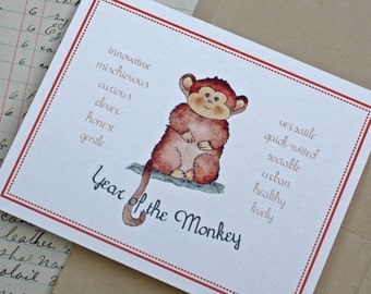 Year of the Monkey 2016 Chinese New Year Handmade Folded Card Watercolor Print. Chinese Zodiac. Gift for Chinese New Year