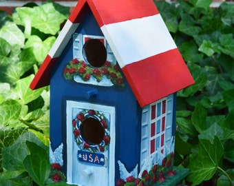 Patriotic Birdhouse, American Flag, Red, White and Blue