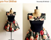50% OFF SALE vintage dress off the shoulder 1980s womens clothing floral print party tulle black size small s