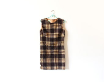 vintage jumper 60's dress pendleton wool plaid brown twiggy 1960's women's clothing size small s