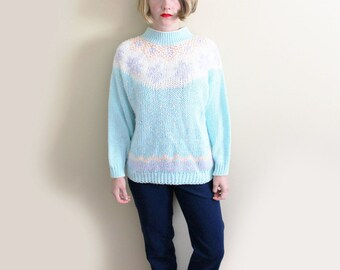vintage sweater 80s pastel colors 1980s turquoise pink geometric womens clothing size medium m