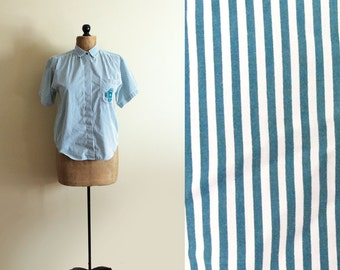 SALE vintage blouse 80s teal green striped shirt 1980s womens clothing size small s
