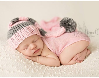 Knit Baby Hat, Photography Prop, Newborn Baby Hat, Striped Hat, Photo Prop, Knit Photo prop, Photo Shoot Prop, Pick your colors, Pompom