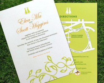 Rabbits eco-Wedding Invitation: Soft Spoken / elegant and airy, pearlized linen paper