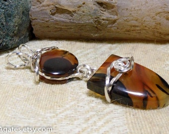Montana Agate Silver Wire Wrapped Double Stone Dangle Pendant Boho Gypsy