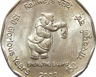 India - Elephant 2 Rupee Coin 2003 / Commemortating 150 years of Railroad