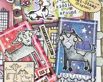 Goat Digital Stamp Bundle of 3 - Digital Stamp - Digistamp - Coloring Pages - Printable Sticker - Clip Art - Printables