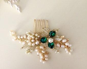 Emerald hair comb, Pearl Hair comb, Golden hair comb, Bridal hair comb, Green Wedding