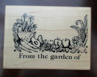 PSX F-155 rubber stamp mounted on wood - From the garden of