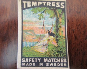 antique Swedish matchbox paper - The Temptress, unused, label