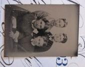 antique miniature tintype photo - gemtype - four women - late 1800s photo - gte74