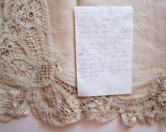 vintage hand done Battenburg lacework with handwritten note - 20 x 20 inches - circa 1960s - battenberg lace