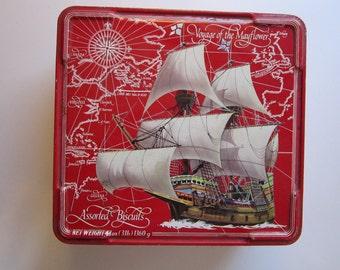 vintage biscuit tin - Voyage of the Mayflower - vintage Nabisco biscuit tin
