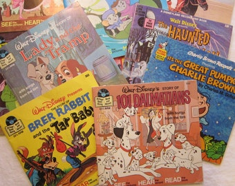 16 vintage childrens books - most with records - Disney and more