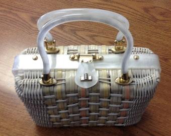 Vintage 1960s Wicker and Lucite Bag / Summer Handbag / Stylecraft Miami Handbag