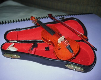 mini vintage violin with bow in case-sale