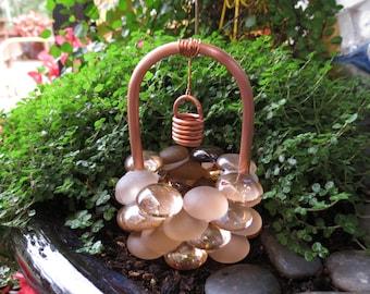 Fairy Garden Accessories, Wishing Well, Frosty Copper Glass Drops, Copper U0026  Glass Wishing