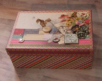 Flowers & Stripes Keepsake Box