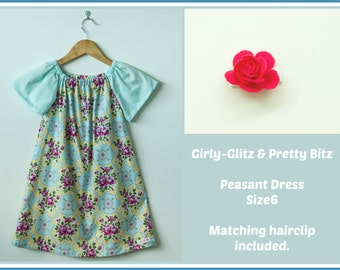 ON SALE - Blue floral peasant dress with rose hairclip (size 6)