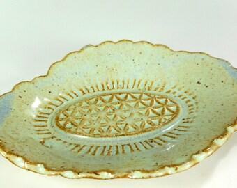 Ceramic soap dish, pottery soap holder dish, stoneware soap dish, bathroom accessory soap dish, hand built pottery soap dish, oval soap dish